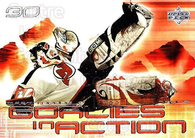 2001-02 Upper Deck Goalies in Action #3 Martin Brodeur<br/>1 In Stock - $3.00 each - <a href=https://centericecollectibles.foxycart.com/cart?name=2001-02%20Upper%20Deck%20Goalies%20in%20Action%20%233%20Martin%20Brodeur...&price=$3.00&code=323201 class=foxycart> Buy it now! </a>