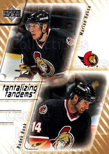 2001-02 Upper Deck Tantalizing Tandems #6 Marian Hossa, Radek Bonk<br/>4 In Stock - $3.00 each - <a href=https://centericecollectibles.foxycart.com/cart?name=2001-02%20Upper%20Deck%20Tantalizing%20Tandems%20%236%20Marian%20Hossa,%20R...&quantity_max=4&price=$3.00&code=323249 class=foxycart> Buy it now! </a>