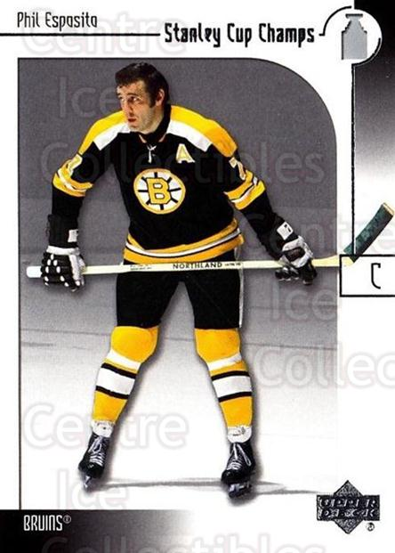 2001-02 Upper Deck Stanley Cup Champs #1 Phil Esposito<br/>1 In Stock - $3.00 each - <a href=https://centericecollectibles.foxycart.com/cart?name=2001-02%20Upper%20Deck%20Stanley%20Cup%20Champs%20%231%20Phil%20Esposito...&quantity_max=1&price=$3.00&code=323322 class=foxycart> Buy it now! </a>