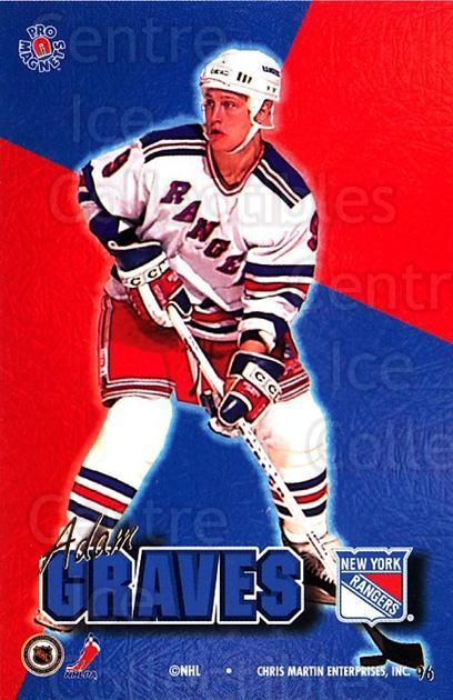 1995-96 Pro Magnets Promo #96 Adam Graves<br/>2 In Stock - $10.00 each - <a href=https://centericecollectibles.foxycart.com/cart?name=1995-96%20Pro%20Magnets%20Promo%20%2396%20Adam%20Graves...&quantity_max=2&price=$10.00&code=324228 class=foxycart> Buy it now! </a>