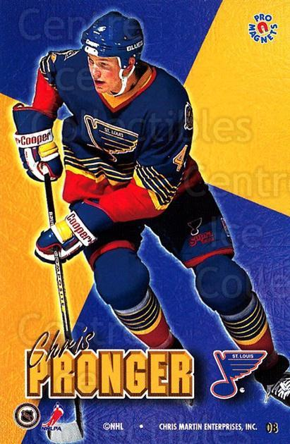 1995-96 Pro Magnets Promo #8 Chris Pronger<br/>2 In Stock - $10.00 each - <a href=https://centericecollectibles.foxycart.com/cart?name=1995-96%20Pro%20Magnets%20Promo%20%238%20Chris%20Pronger...&quantity_max=2&price=$10.00&code=324243 class=foxycart> Buy it now! </a>