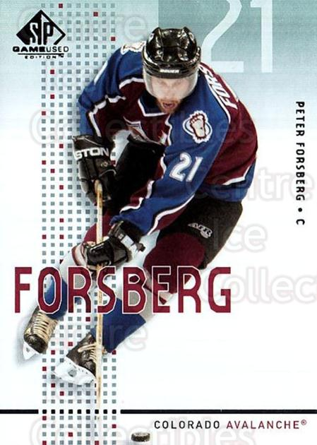 2002-03 SP Game Used #11 Peter Forsberg<br/>4 In Stock - $3.00 each - <a href=https://centericecollectibles.foxycart.com/cart?name=2002-03%20SP%20Game%20Used%20%2311%20Peter%20Forsberg...&quantity_max=4&price=$3.00&code=324327 class=foxycart> Buy it now! </a>
