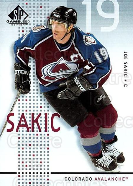 2002-03 SP Game Used #12 Joe Sakic<br/>3 In Stock - $3.00 each - <a href=https://centericecollectibles.foxycart.com/cart?name=2002-03%20SP%20Game%20Used%20%2312%20Joe%20Sakic...&quantity_max=3&price=$3.00&code=324328 class=foxycart> Buy it now! </a>