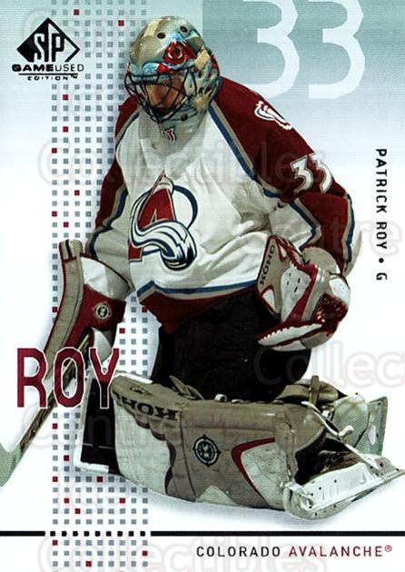 2002-03 SP Game Used #13 Patrick Roy<br/>5 In Stock - $5.00 each - <a href=https://centericecollectibles.foxycart.com/cart?name=2002-03%20SP%20Game%20Used%20%2313%20Patrick%20Roy...&quantity_max=5&price=$5.00&code=324329 class=foxycart> Buy it now! </a>