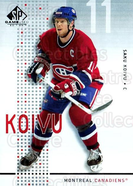 2002-03 SP Game Used #26 Saku Koivu<br/>4 In Stock - $2.00 each - <a href=https://centericecollectibles.foxycart.com/cart?name=2002-03%20SP%20Game%20Used%20%2326%20Saku%20Koivu...&quantity_max=4&price=$2.00&code=324332 class=foxycart> Buy it now! </a>