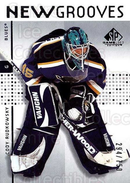 2002-03 SP Game Used #90 Cody Rudkowsky<br/>2 In Stock - $5.00 each - <a href=https://centericecollectibles.foxycart.com/cart?name=2002-03%20SP%20Game%20Used%20%2390%20Cody%20Rudkowsky...&quantity_max=2&price=$5.00&code=324365 class=foxycart> Buy it now! </a>