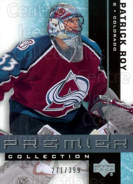 2001-02 UD Premier Collection #12 Patrick Roy<br/>2 In Stock - $15.00 each - <a href=https://centericecollectibles.foxycart.com/cart?name=2001-02%20UD%20Premier%20Collection%20%2312%20Patrick%20Roy...&price=$15.00&code=324597 class=foxycart> Buy it now! </a>