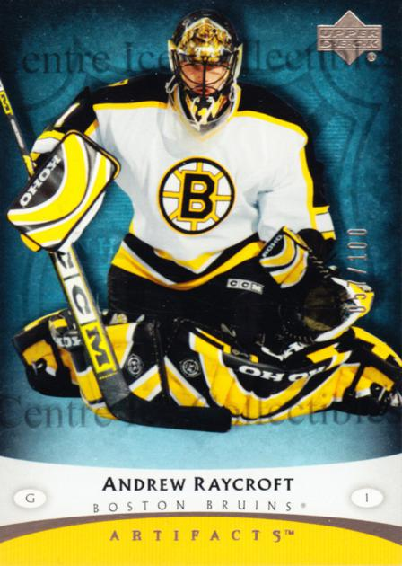 2005-06 UD Artifacts Pewter #7 Andrew Raycroft<br/>2 In Stock - $5.00 each - <a href=https://centericecollectibles.foxycart.com/cart?name=2005-06%20UD%20Artifacts%20Pewter%20%237%20Andrew%20Raycroft...&quantity_max=2&price=$5.00&code=326580 class=foxycart> Buy it now! </a>