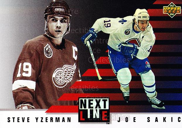 1993-94 Upper Deck Next in Line #3 Steve Yzerman, Joe Sakic<br/>16 In Stock - $3.00 each - <a href=https://centericecollectibles.foxycart.com/cart?name=1993-94%20Upper%20Deck%20Next%20in%20Line%20%233%20Steve%20Yzerman,%20...&price=$3.00&code=327258 class=foxycart> Buy it now! </a>