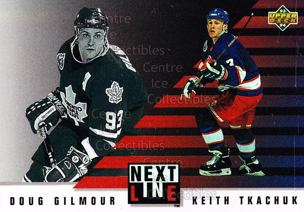 1993-94 Upper Deck Next in Line #5 Doug Gilmour, Keith Tkachuk<br/>24 In Stock - $3.00 each - <a href=https://centericecollectibles.foxycart.com/cart?name=1993-94%20Upper%20Deck%20Next%20in%20Line%20%235%20Doug%20Gilmour,%20K...&quantity_max=24&price=$3.00&code=327260 class=foxycart> Buy it now! </a>