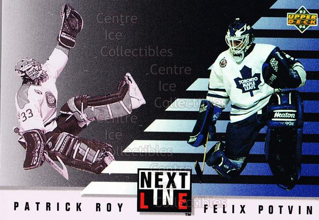 1993-94 Upper Deck Next in Line #6 Patrick Roy, Felix Potvin<br/>1 In Stock - $5.00 each - <a href=https://centericecollectibles.foxycart.com/cart?name=1993-94%20Upper%20Deck%20Next%20in%20Line%20%236%20Patrick%20Roy,%20Fe...&quantity_max=1&price=$5.00&code=327261 class=foxycart> Buy it now! </a>