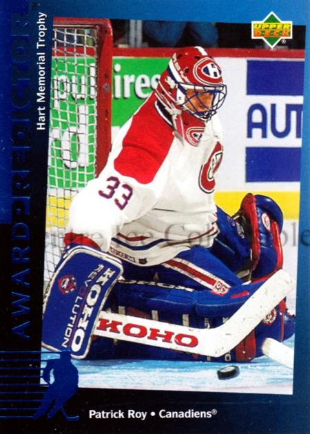 1994-95 Upper Deck Predictor Hobby #5 Patrick Roy<br/>5 In Stock - $5.00 each - <a href=https://centericecollectibles.foxycart.com/cart?name=1994-95%20Upper%20Deck%20Predictor%20Hobby%20%235%20Patrick%20Roy...&quantity_max=5&price=$5.00&code=327360 class=foxycart> Buy it now! </a>