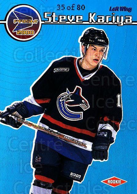 1999-00 Prism Holographic Blue #140 Steve Kariya<br/>1 In Stock - $10.00 each - <a href=https://centericecollectibles.foxycart.com/cart?name=1999-00%20Prism%20Holographic%20Blue%20%23140%20Steve%20Kariya...&quantity_max=1&price=$10.00&code=328377 class=foxycart> Buy it now! </a>