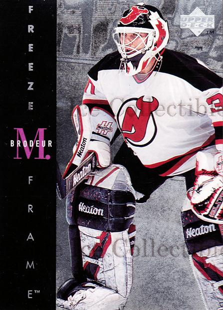 1995-96 Upper Deck Freeze Frame #14 Martin Brodeur<br/>1 In Stock - $5.00 each - <a href=https://centericecollectibles.foxycart.com/cart?name=1995-96%20Upper%20Deck%20Freeze%20Frame%20%2314%20Martin%20Brodeur...&price=$5.00&code=329189 class=foxycart> Buy it now! </a>