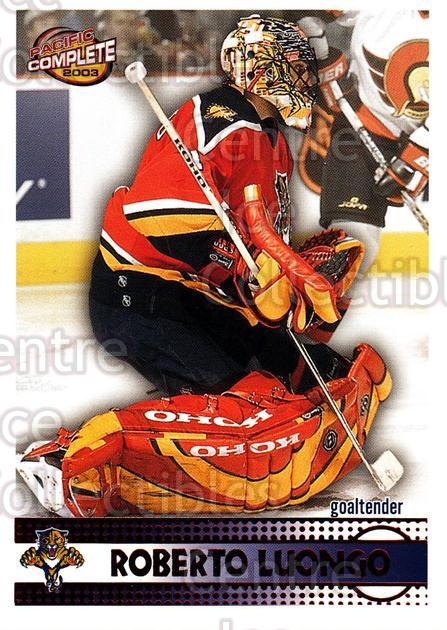 2002-03 Pacific Complete Red #128 Roberto Luongo<br/>3 In Stock - $3.00 each - <a href=https://centericecollectibles.foxycart.com/cart?name=2002-03%20Pacific%20Complete%20Red%20%23128%20Roberto%20Luongo...&quantity_max=3&price=$3.00&code=331415 class=foxycart> Buy it now! </a>