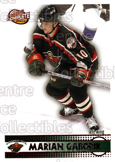 2002-03 Pacific Complete Red #206 Marian Gaborik<br/>2 In Stock - $5.00 each - <a href=https://centericecollectibles.foxycart.com/cart?name=2002-03%20Pacific%20Complete%20Red%20%23206%20Marian%20Gaborik...&quantity_max=2&price=$5.00&code=331493 class=foxycart> Buy it now! </a>