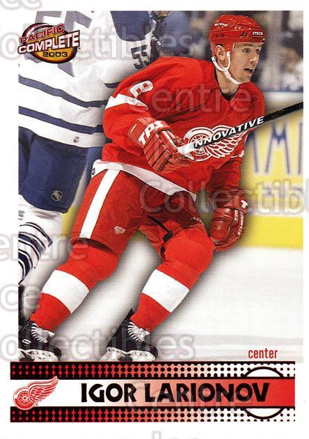 2002-03 Pacific Complete Red #339 Igor Larionov<br/>2 In Stock - $3.00 each - <a href=https://centericecollectibles.foxycart.com/cart?name=2002-03%20Pacific%20Complete%20Red%20%23339%20Igor%20Larionov...&quantity_max=2&price=$3.00&code=331626 class=foxycart> Buy it now! </a>