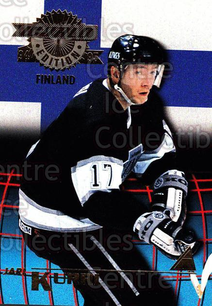 1994-95 Pinnacle World Edition #7 Jari Kurri<br/>6 In Stock - $3.00 each - <a href=https://centericecollectibles.foxycart.com/cart?name=1994-95%20Pinnacle%20World%20Edition%20%237%20Jari%20Kurri...&quantity_max=6&price=$3.00&code=33165 class=foxycart> Buy it now! </a>
