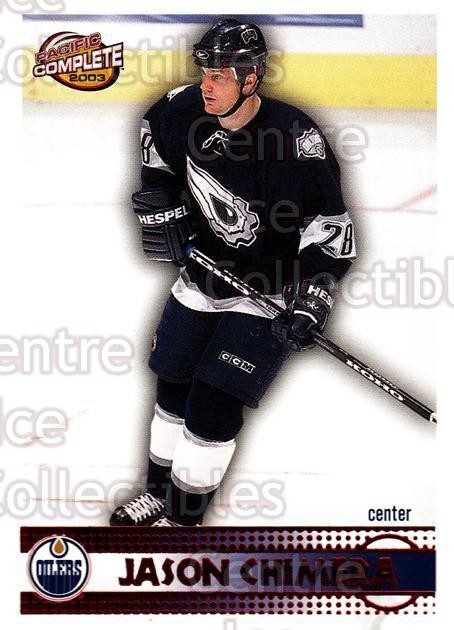2002-03 Pacific Complete Red #383 Jason Chimera<br/>2 In Stock - $3.00 each - <a href=https://centericecollectibles.foxycart.com/cart?name=2002-03%20Pacific%20Complete%20Red%20%23383%20Jason%20Chimera...&quantity_max=2&price=$3.00&code=331670 class=foxycart> Buy it now! </a>