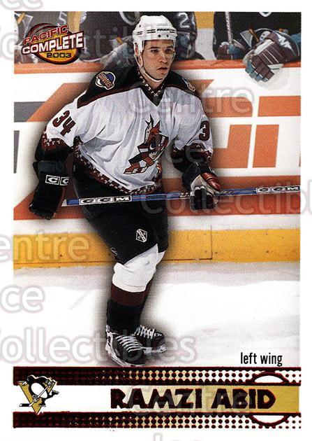 2002-03 Pacific Complete Red #555 Ramzi Abid<br/>3 In Stock - $3.00 each - <a href=https://centericecollectibles.foxycart.com/cart?name=2002-03%20Pacific%20Complete%20Red%20%23555%20Ramzi%20Abid...&quantity_max=3&price=$3.00&code=331842 class=foxycart> Buy it now! </a>