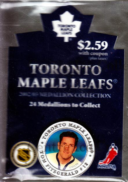 2002-03 Toronto Maple Leafs Medallion #7 Tom Fitzgerald<br/>3 In Stock - $5.00 each - <a href=https://centericecollectibles.foxycart.com/cart?name=2002-03%20Toronto%20Maple%20Leafs%20Medallion%20%237%20Tom%20Fitzgerald...&quantity_max=3&price=$5.00&code=331889 class=foxycart> Buy it now! </a>