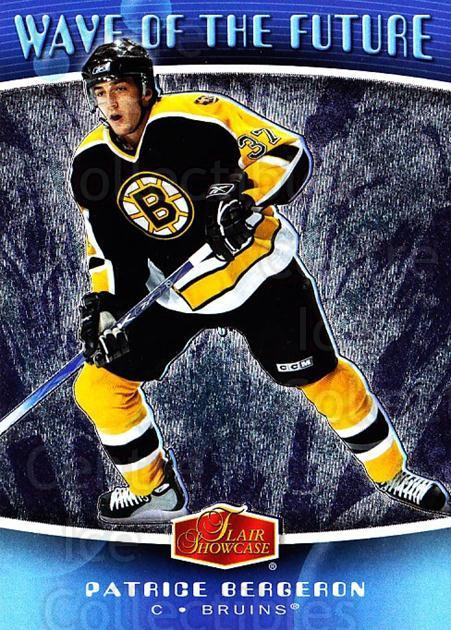2006-07 Flair Showcase Wave of the Future #4 Patrice Bergeron<br/>2 In Stock - $3.00 each - <a href=https://centericecollectibles.foxycart.com/cart?name=2006-07%20Flair%20Showcase%20Wave%20of%20the%20Future%20%234%20Patrice%20Bergero...&quantity_max=2&price=$3.00&code=331893 class=foxycart> Buy it now! </a>