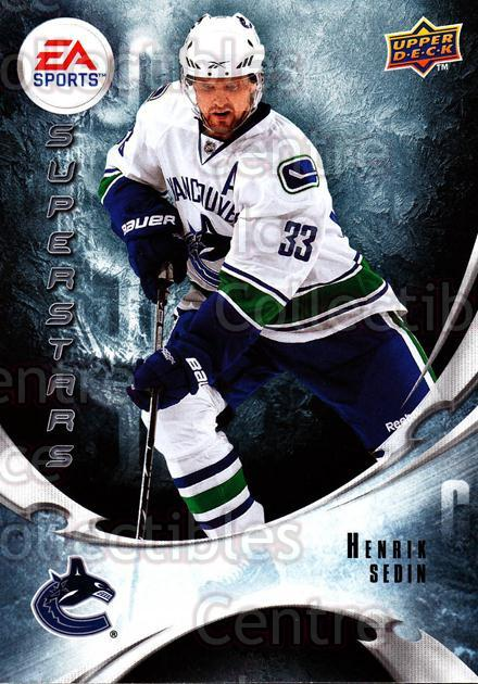 2010-11 Upper Deck EA Super Stars #13 Henrik Sedin<br/>1 In Stock - $2.00 each - <a href=https://centericecollectibles.foxycart.com/cart?name=2010-11%20Upper%20Deck%20EA%20Super%20Stars%20%2313%20Henrik%20Sedin...&quantity_max=1&price=$2.00&code=331944 class=foxycart> Buy it now! </a>