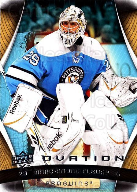 2009-10 UD Ovation #116 Marc-Andre Fleury<br/>2 In Stock - $3.00 each - <a href=https://centericecollectibles.foxycart.com/cart?name=2009-10%20UD%20Ovation%20%23116%20Marc-Andre%20Fleu...&quantity_max=2&price=$3.00&code=332220 class=foxycart> Buy it now! </a>