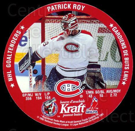 1992-93 Kraft Peanut Butter Discs #10 Patrick Roy, John Vanbiesbrouck<br/>20 In Stock - $5.00 each - <a href=https://centericecollectibles.foxycart.com/cart?name=1992-93%20Kraft%20Peanut%20Butter%20Discs%20%2310%20Patrick%20Roy,%20Jo...&price=$5.00&code=332360 class=foxycart> Buy it now! </a>
