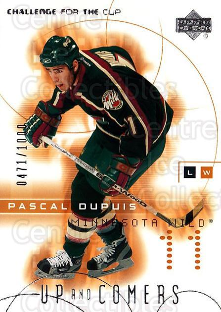 2001-02 UD Challenge for the Cup #110 Pascal Dupuis<br/>3 In Stock - $3.00 each - <a href=https://centericecollectibles.foxycart.com/cart?name=2001-02%20UD%20Challenge%20for%20the%20Cup%20%23110%20Pascal%20Dupuis...&quantity_max=3&price=$3.00&code=332477 class=foxycart> Buy it now! </a>