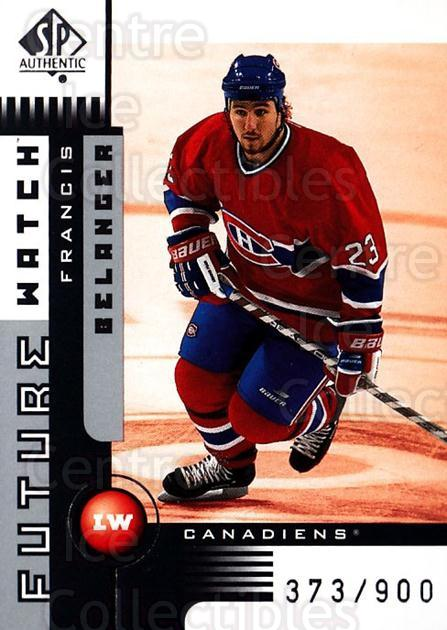 2001-02 SP Authentic #154 Francis Belanger<br/>3 In Stock - $5.00 each - <a href=https://centericecollectibles.foxycart.com/cart?name=2001-02%20SP%20Authentic%20%23154%20Francis%20Belange...&quantity_max=3&price=$5.00&code=332551 class=foxycart> Buy it now! </a>