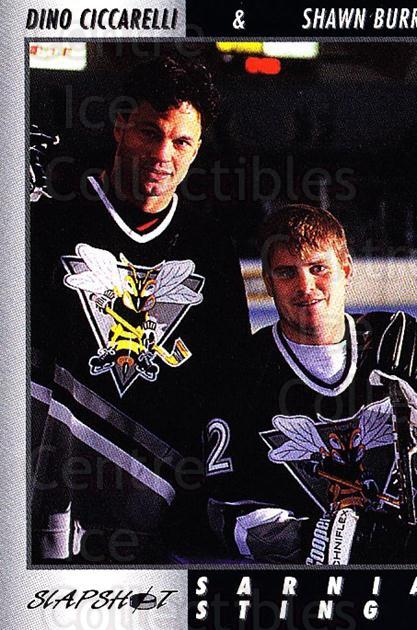 1994-95 Sarnia Sting #29 Dino Ciccarelli, Shawn Burr<br/>3 In Stock - $3.00 each - <a href=https://centericecollectibles.foxycart.com/cart?name=1994-95%20Sarnia%20Sting%20%2329%20Dino%20Ciccarelli...&quantity_max=3&price=$3.00&code=33409 class=foxycart> Buy it now! </a>
