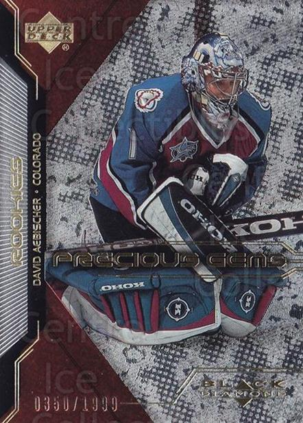 2000-01 Black Diamond #114 David Aebischer<br/>3 In Stock - $5.00 each - <a href=https://centericecollectibles.foxycart.com/cart?name=2000-01%20Black%20Diamond%20%23114%20David%20Aebischer...&quantity_max=3&price=$5.00&code=335137 class=foxycart> Buy it now! </a>