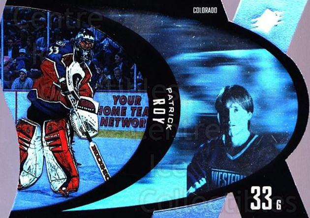 1997-98 SPx #10 Patrick Roy<br/>1 In Stock - $5.00 each - <a href=https://centericecollectibles.foxycart.com/cart?name=1997-98%20SPx%20%2310%20Patrick%20Roy...&price=$5.00&code=335646 class=foxycart> Buy it now! </a>