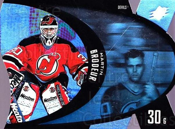 1997-98 SPx #27 Martin Brodeur<br/>2 In Stock - $3.00 each - <a href=https://centericecollectibles.foxycart.com/cart?name=1997-98%20SPx%20%2327%20Martin%20Brodeur...&price=$3.00&code=335651 class=foxycart> Buy it now! </a>
