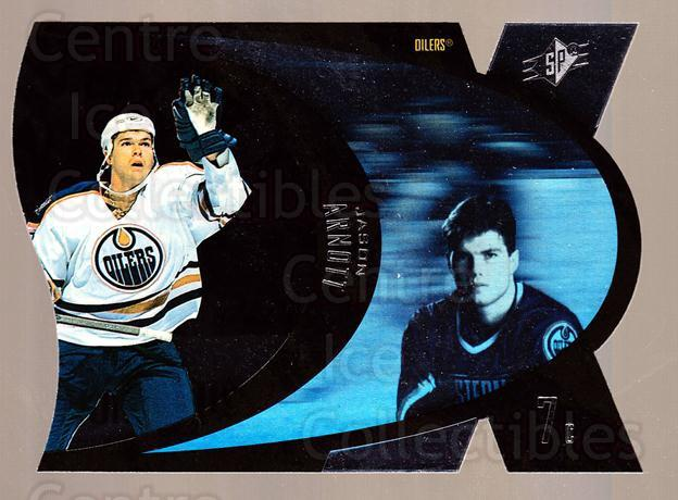 1997-98 SPx Steel #18 Jason Arnott<br/>7 In Stock - $2.00 each - <a href=https://centericecollectibles.foxycart.com/cart?name=1997-98%20SPx%20Steel%20%2318%20Jason%20Arnott...&quantity_max=7&price=$2.00&code=335709 class=foxycart> Buy it now! </a>