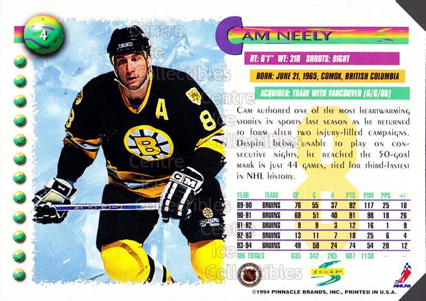 1994-95 Score Promos Samples #4 Cam Neely<br/>2 In Stock - $3.00 each - <a href=https://centericecollectibles.foxycart.com/cart?name=1994-95%20Score%20Promos%20Samples%20%234%20Cam%20Neely...&quantity_max=2&price=$3.00&code=33736 class=foxycart> Buy it now! </a>