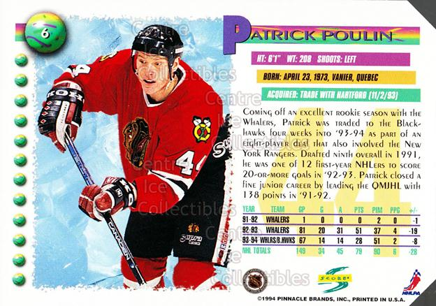 1994-95 Score Promos Samples #6 Patrick Poulin<br/>3 In Stock - $3.00 each - <a href=https://centericecollectibles.foxycart.com/cart?name=1994-95%20Score%20Promos%20Samples%20%236%20Patrick%20Poulin...&quantity_max=3&price=$3.00&code=33738 class=foxycart> Buy it now! </a>