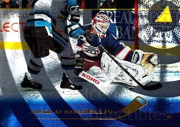 1995-96 Pinnacle Rink Collection #118 Nikolai Khabibulin<br/>6 In Stock - $2.00 each - <a href=https://centericecollectibles.foxycart.com/cart?name=1995-96%20Pinnacle%20Rink%20Collection%20%23118%20Nikolai%20Khabibu...&quantity_max=6&price=$2.00&code=339507 class=foxycart> Buy it now! </a>