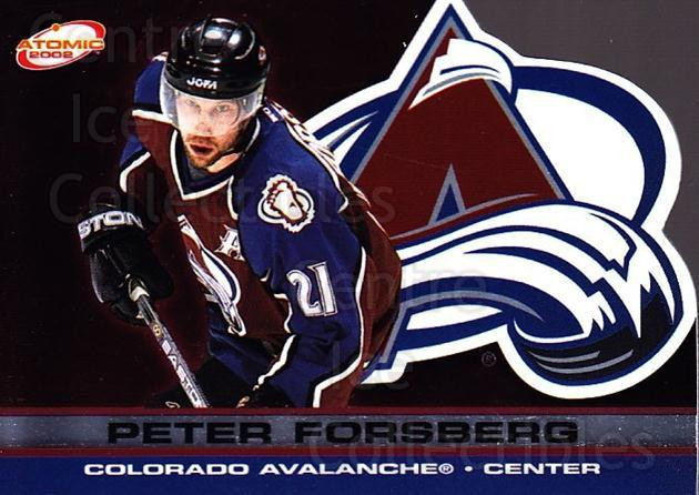 2001-02 Atomic #24 Peter Forsberg<br/>2 In Stock - $3.00 each - <a href=https://centericecollectibles.foxycart.com/cart?name=2001-02%20Atomic%20%2324%20Peter%20Forsberg...&quantity_max=2&price=$3.00&code=339746 class=foxycart> Buy it now! </a>