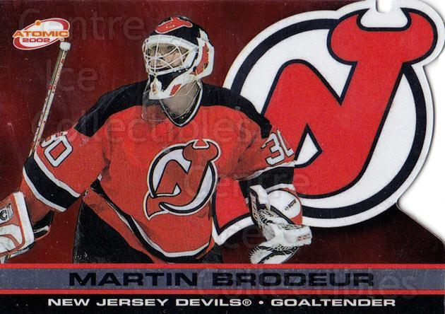 2001-02 Atomic #57 Martin Brodeur<br/>3 In Stock - $3.00 each - <a href=https://centericecollectibles.foxycart.com/cart?name=2001-02%20Atomic%20%2357%20Martin%20Brodeur...&quantity_max=3&price=$3.00&code=339753 class=foxycart> Buy it now! </a>