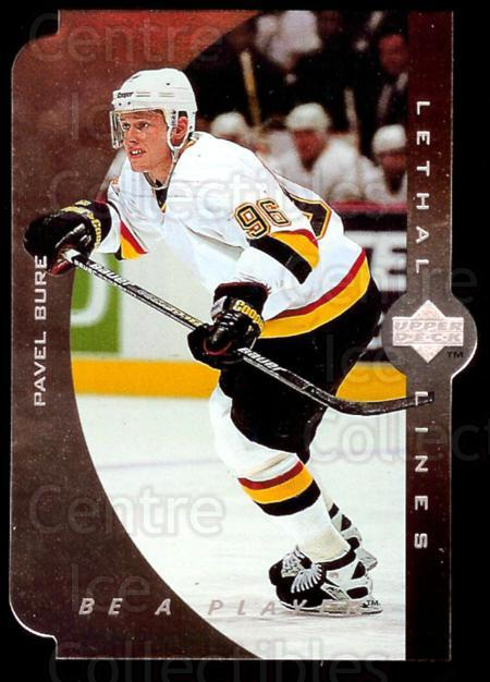 1995-96 Be A Player Lethal Lines #7 Pavel Bure<br/>3 In Stock - $3.00 each - <a href=https://centericecollectibles.foxycart.com/cart?name=1995-96%20Be%20A%20Player%20Lethal%20Lines%20%237%20Pavel%20Bure...&quantity_max=3&price=$3.00&code=340416 class=foxycart> Buy it now! </a>
