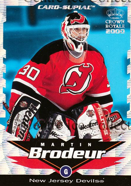 1999-00 Crown Royale Supials Minis #13 Martin Brodeur<br/>1 In Stock - $5.00 each - <a href=https://centericecollectibles.foxycart.com/cart?name=1999-00%20Crown%20Royale%20Supials%20Minis%20%2313%20Martin%20Brodeur...&quantity_max=1&price=$5.00&code=341916 class=foxycart> Buy it now! </a>