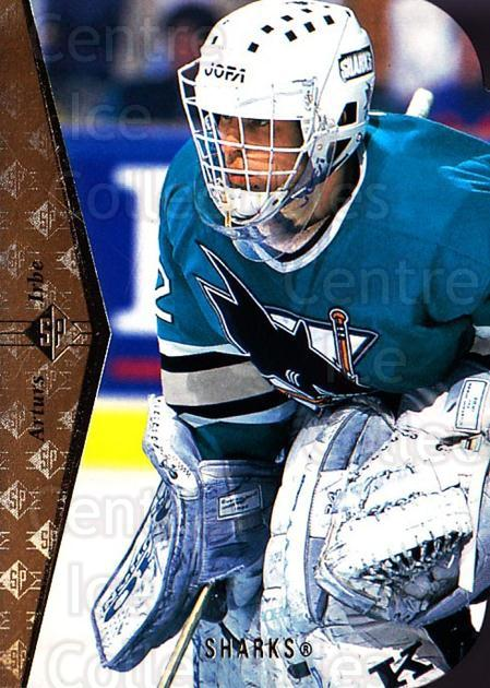 1994-95 SP Die Cuts #105 Arturs Irbe<br/>8 In Stock - $2.00 each - <a href=https://centericecollectibles.foxycart.com/cart?name=1994-95%20SP%20Die%20Cuts%20%23105%20Arturs%20Irbe...&quantity_max=8&price=$2.00&code=34228 class=foxycart> Buy it now! </a>
