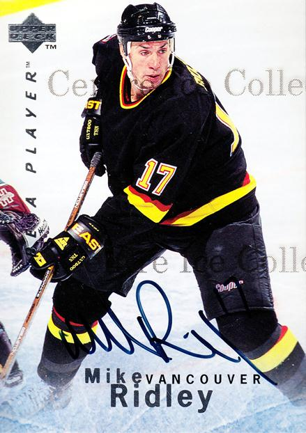 1995-96 Be A Player Auto #63 Mike Ridley<br/>4 In Stock - $3.00 each - <a href=https://centericecollectibles.foxycart.com/cart?name=1995-96%20Be%20A%20Player%20Auto%20%2363%20Mike%20Ridley...&quantity_max=4&price=$3.00&code=343295 class=foxycart> Buy it now! </a>