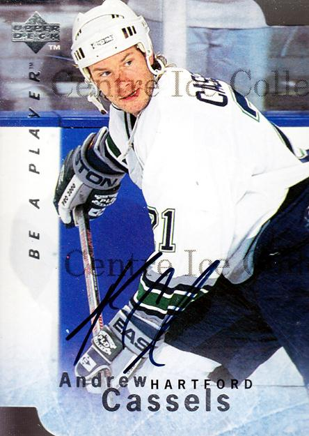 1995-96 Be A Player Auto Die Cuts #30 Andrew Cassels<br/>1 In Stock - $5.00 each - <a href=https://centericecollectibles.foxycart.com/cart?name=1995-96%20Be%20A%20Player%20Auto%20Die%20Cuts%20%2330%20Andrew%20Cassels...&quantity_max=1&price=$5.00&code=343709 class=foxycart> Buy it now! </a>