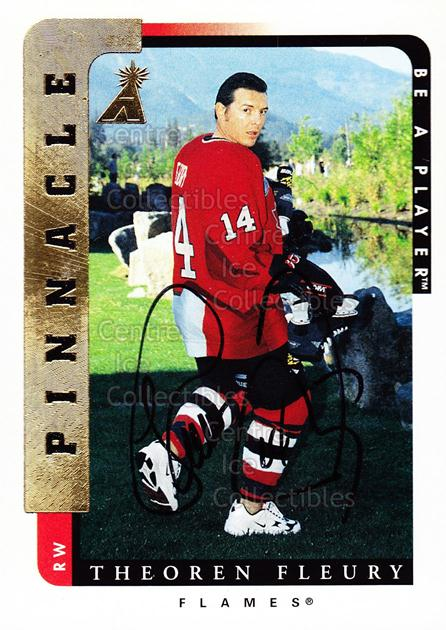 1996-97 Be A Player Auto #159 Theo Fleury<br/>1 In Stock - $10.00 each - <a href=https://centericecollectibles.foxycart.com/cart?name=1996-97%20Be%20A%20Player%20Auto%20%23159%20Theo%20Fleury...&quantity_max=1&price=$10.00&code=343790 class=foxycart> Buy it now! </a>