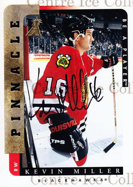 1996-97 Be A Player Auto #165 Kevin Miller<br/>3 In Stock - $3.00 each - <a href=https://centericecollectibles.foxycart.com/cart?name=1996-97%20Be%20A%20Player%20Auto%20%23165%20Kevin%20Miller...&quantity_max=3&price=$3.00&code=343797 class=foxycart> Buy it now! </a>