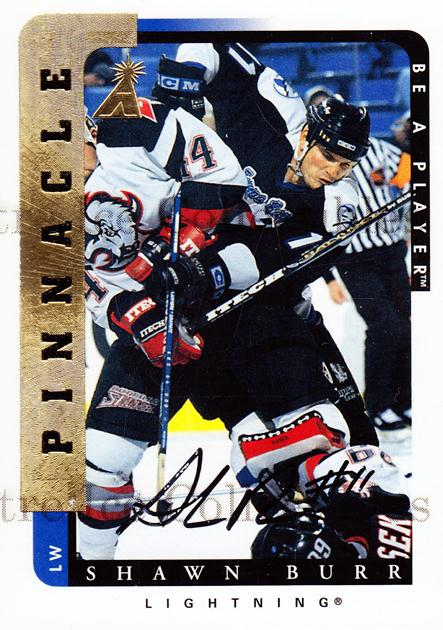 1996-97 Be A Player Auto #191 Shawn Burr<br/>3 In Stock - $5.00 each - <a href=https://centericecollectibles.foxycart.com/cart?name=1996-97%20Be%20A%20Player%20Auto%20%23191%20Shawn%20Burr...&quantity_max=3&price=$5.00&code=343822 class=foxycart> Buy it now! </a>