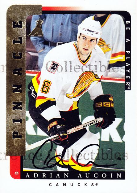 1996-97 Be A Player Auto #79 Adrian Aucoin<br/>3 In Stock - $3.00 each - <a href=https://centericecollectibles.foxycart.com/cart?name=1996-97%20Be%20A%20Player%20Auto%20%2379%20Adrian%20Aucoin...&quantity_max=3&price=$3.00&code=343911 class=foxycart> Buy it now! </a>